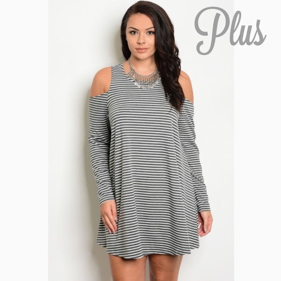 Plus size Gray & White striped cold shoulder dress